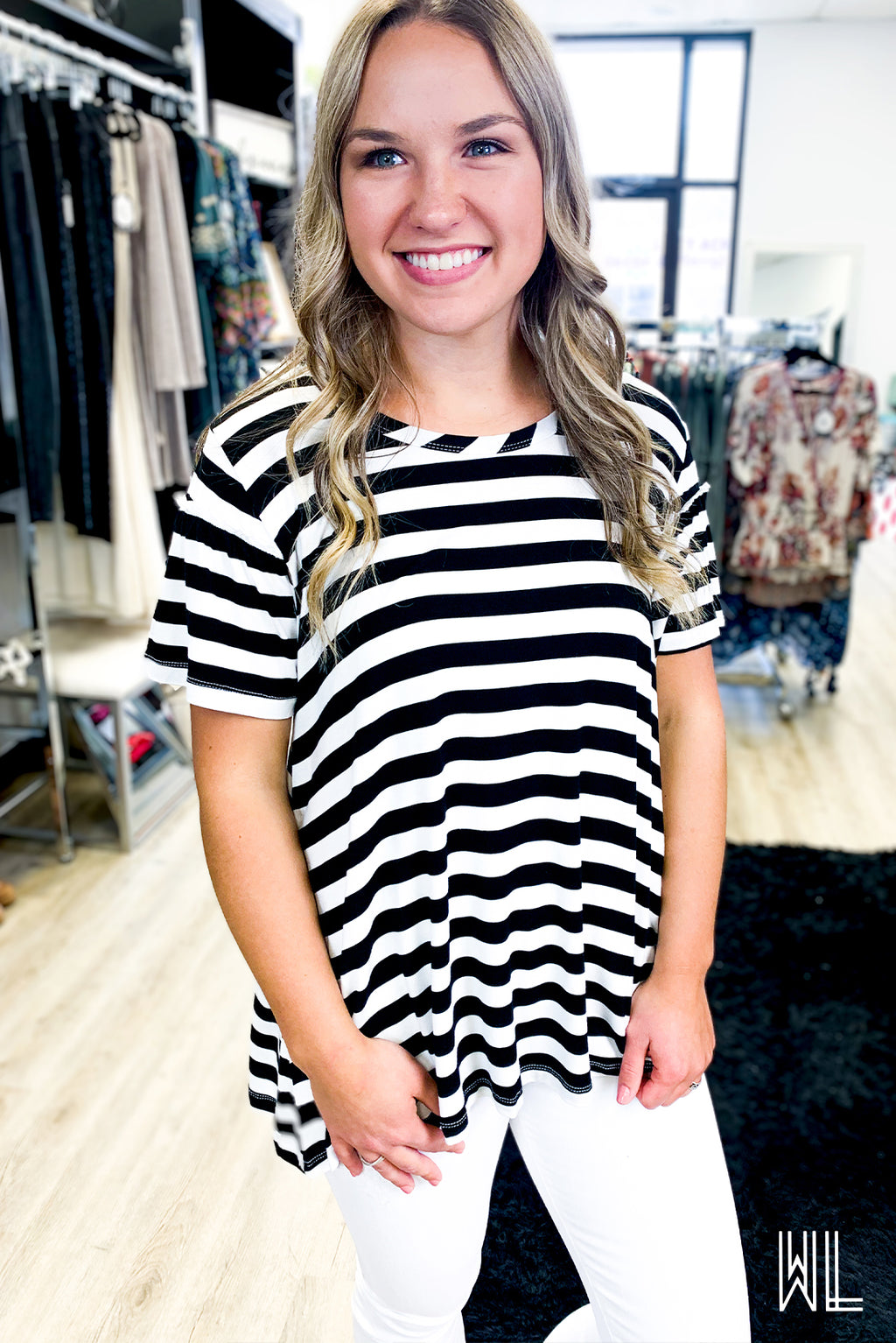 Black + Ivory Striped Ruffle Sleeve Tee