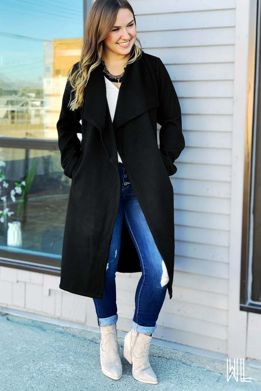Black Tie Waist Trench Coat