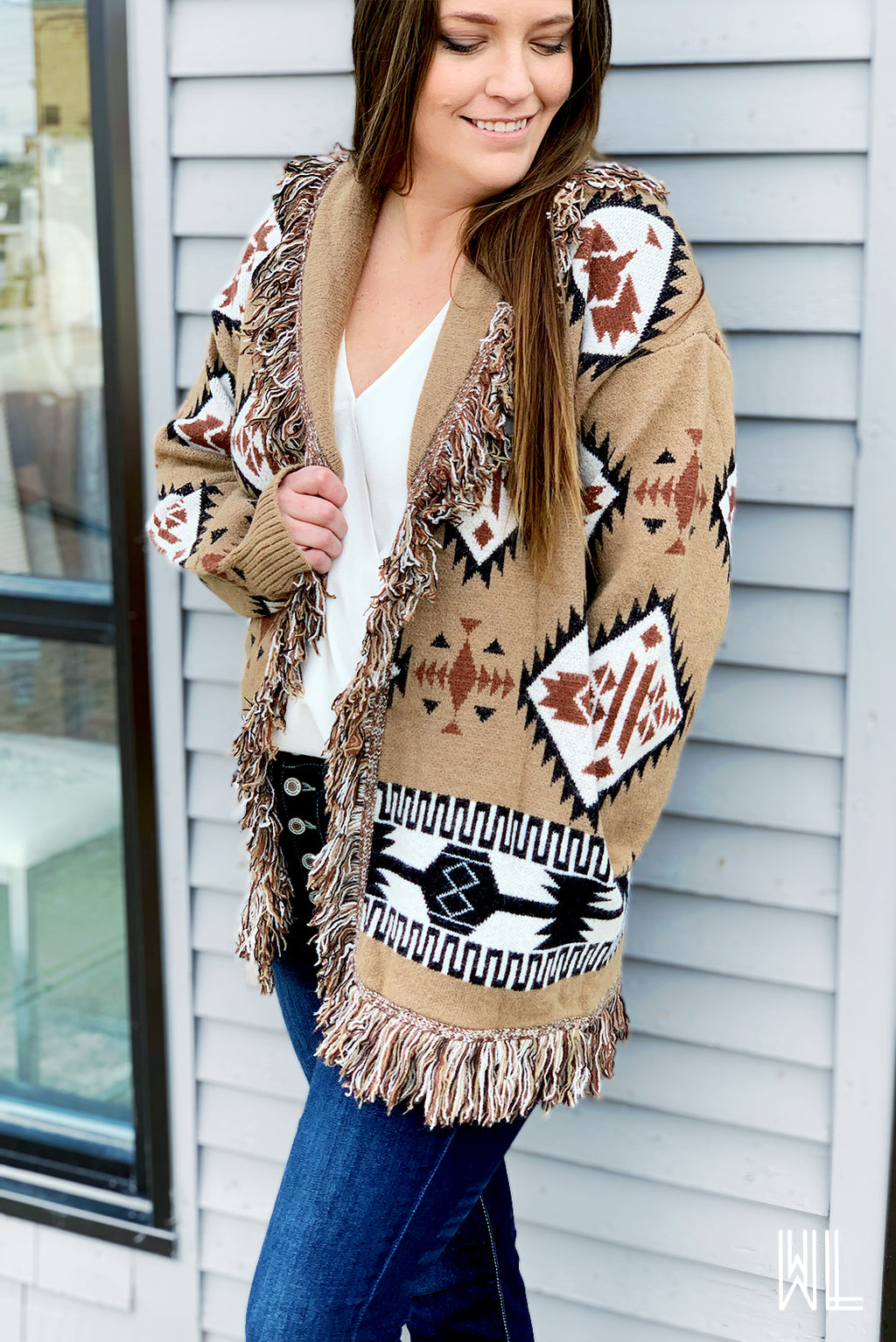 Brown Retro Aztec Silhouette Cardigan