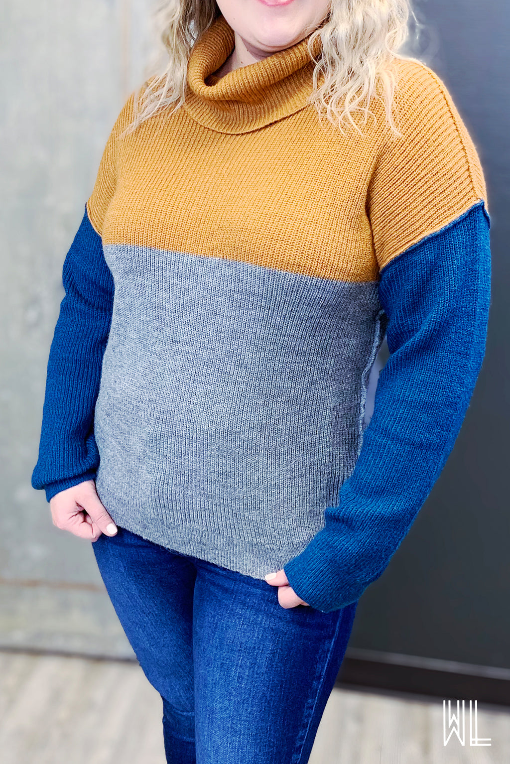 Camel + Teal Color Block Turtleneck