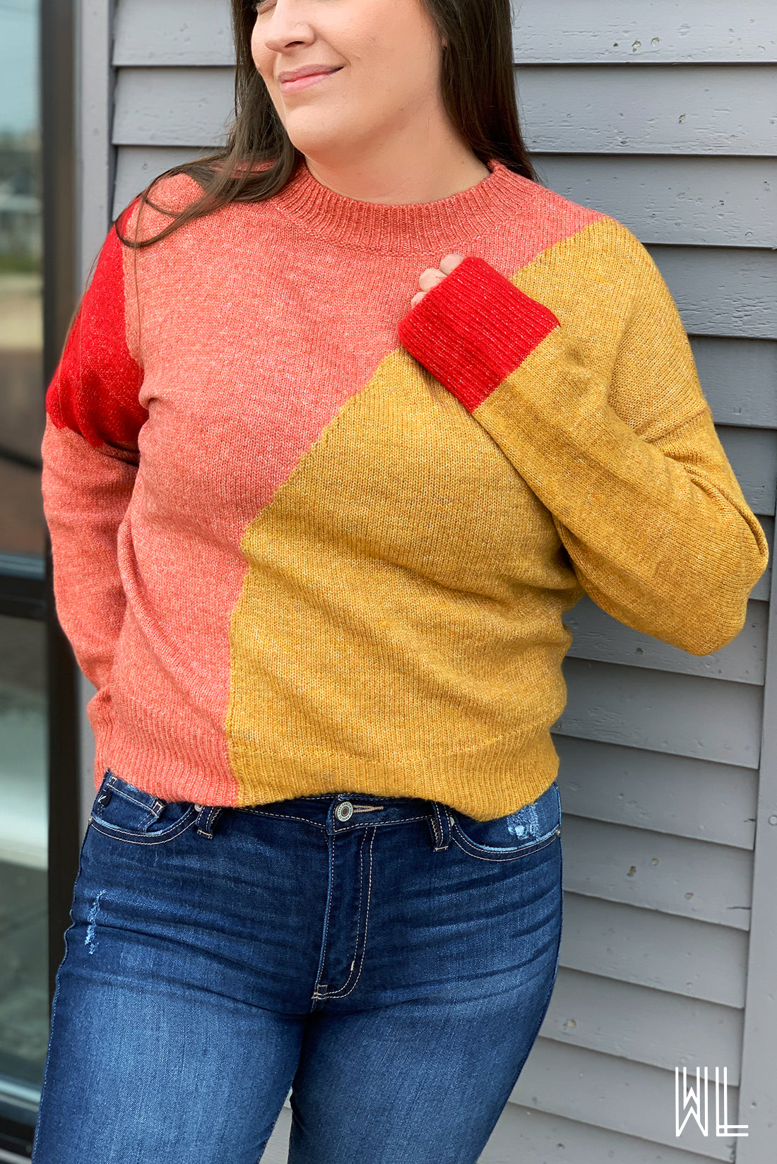 Coral + Mustard Crew Neck Sweater