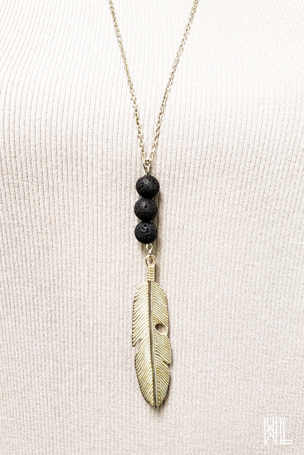 Feather Pendant + Lava Stone Necklace