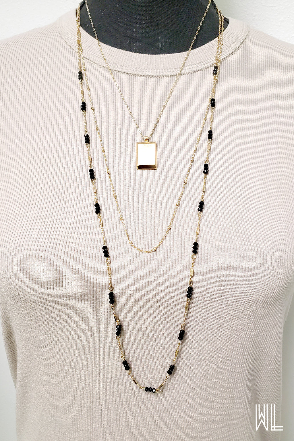 Gold Square Three Tier Necklace + Earrings