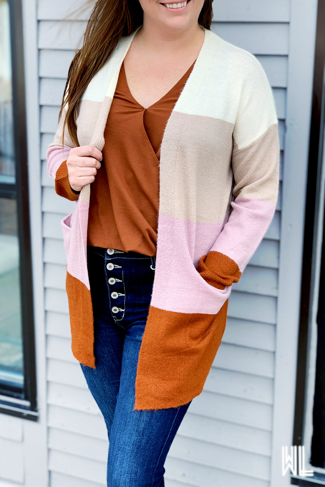 Lavender + Rust Striped Open Cardigan