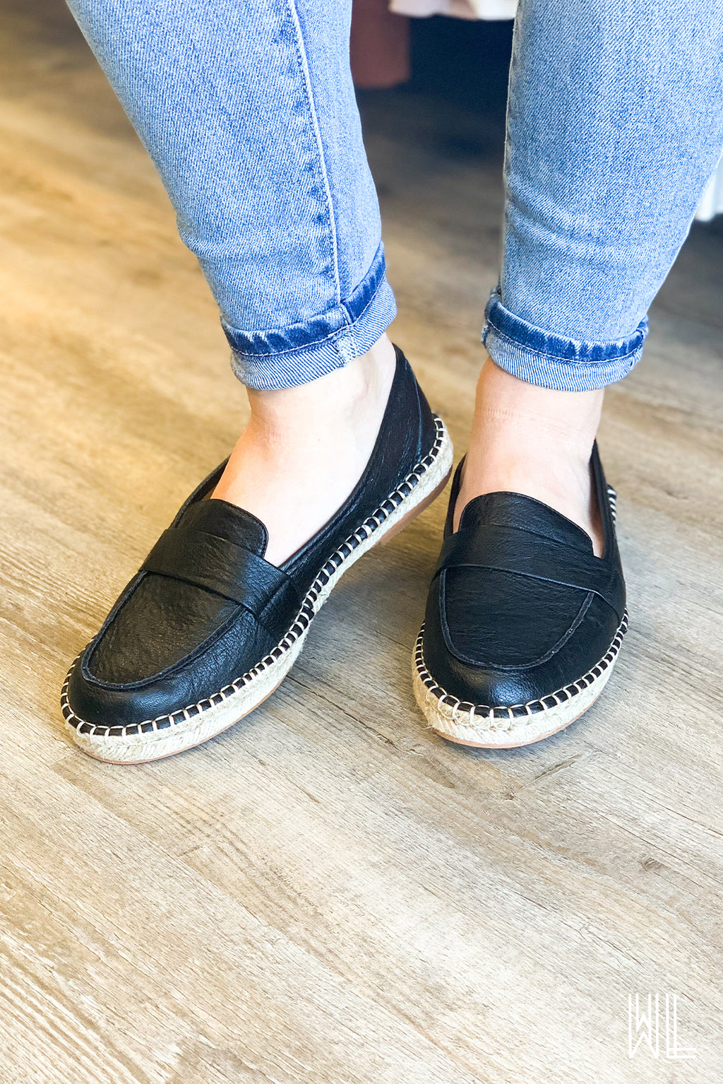 Lucca Black Espadrille Loafers