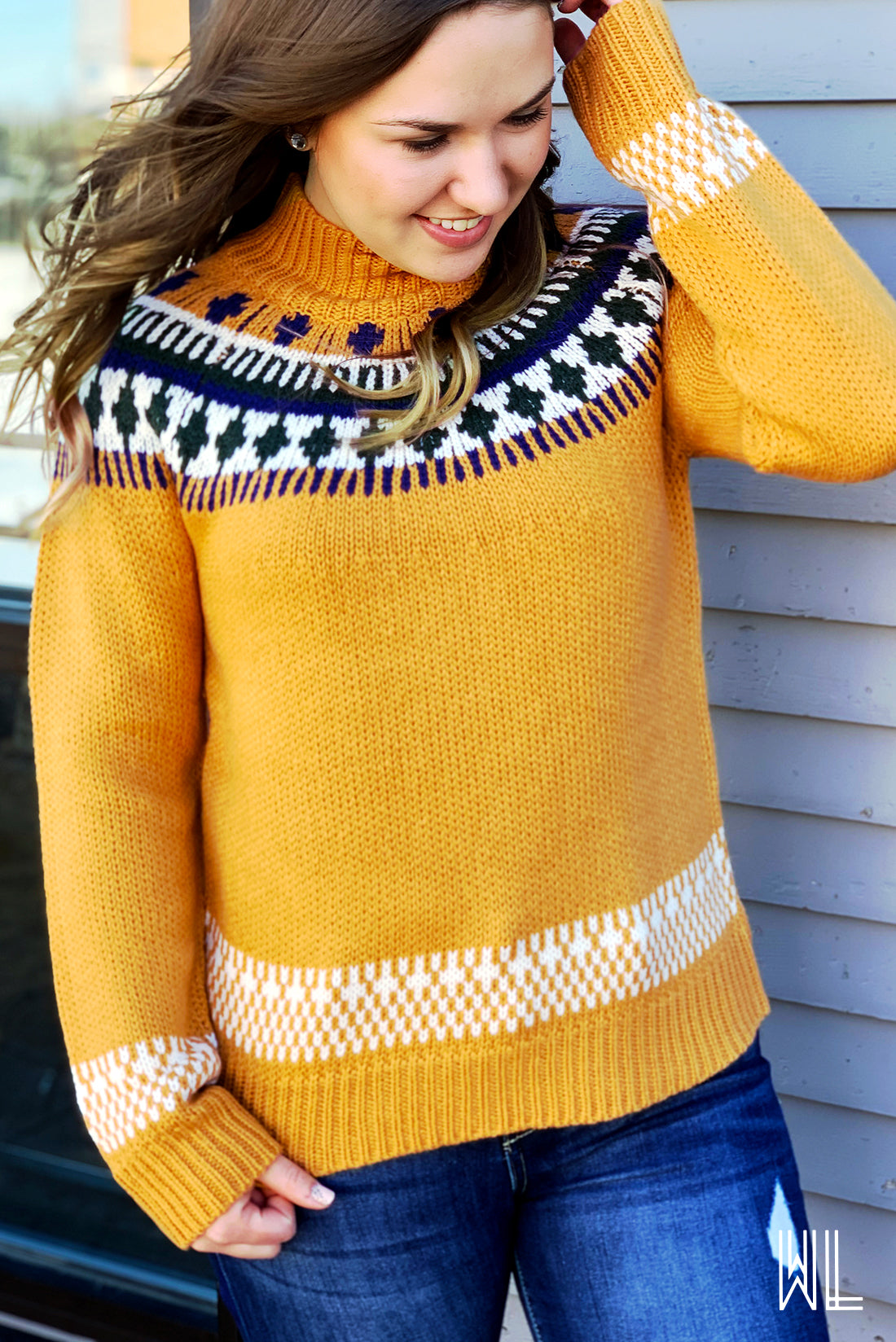 Mustard Ornament Jacquard Sweater