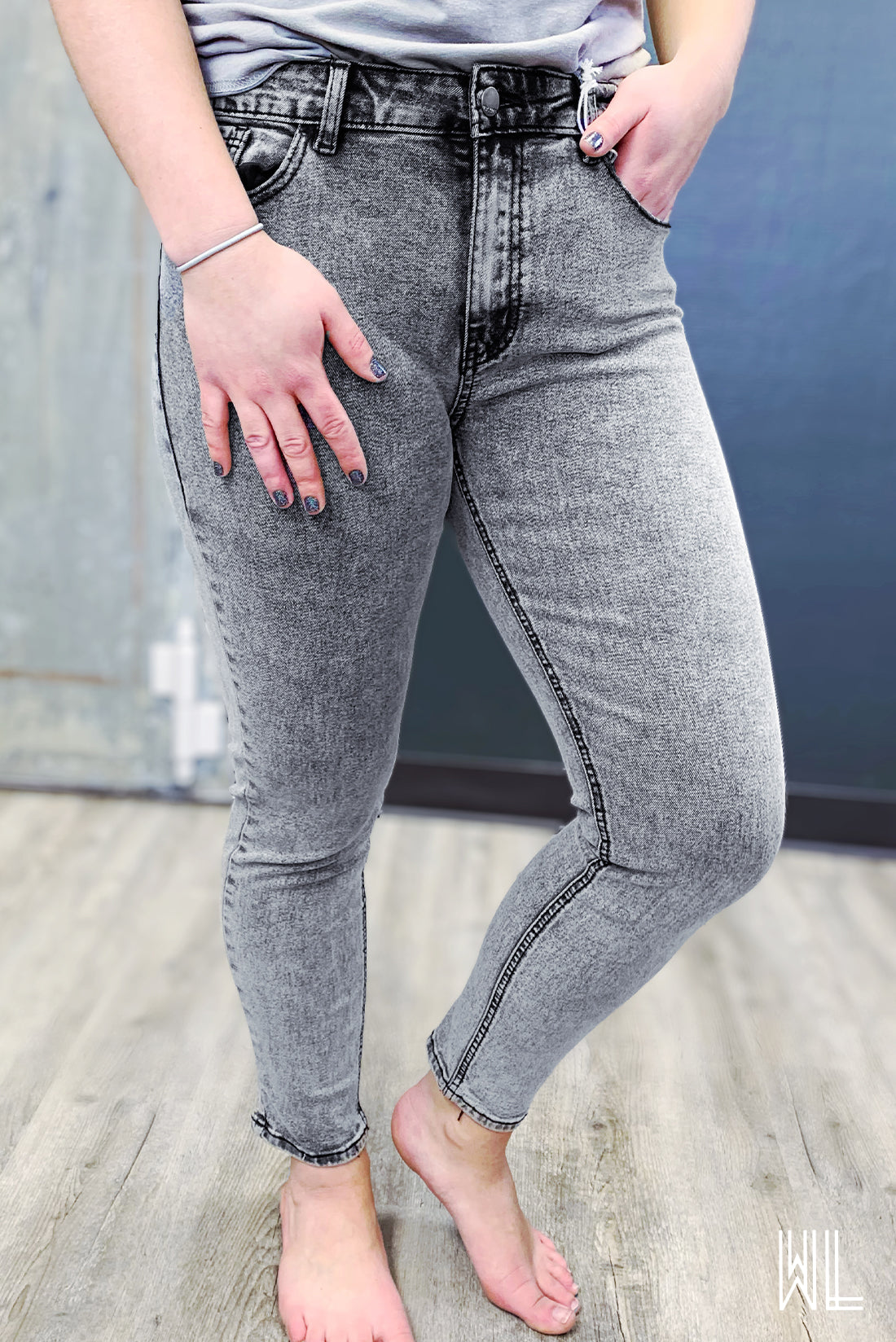 Nature Grey Acid Wash Skinny Jeans