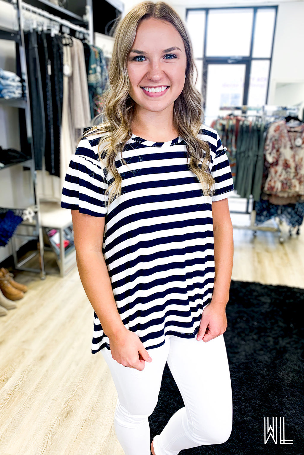 Navy + Ivory Striped Ruffle Sleeve Tee