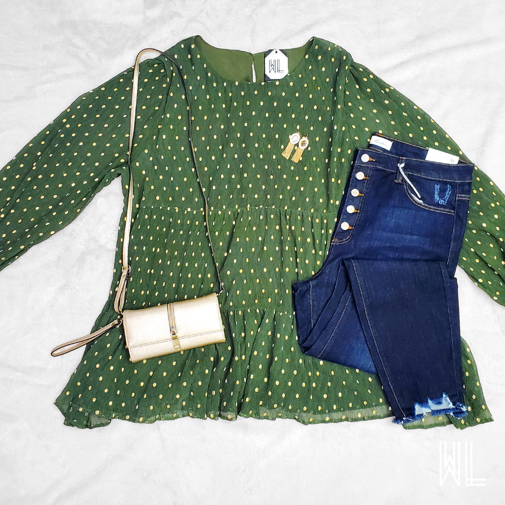 Olive + Gold Polka Dot Blouse