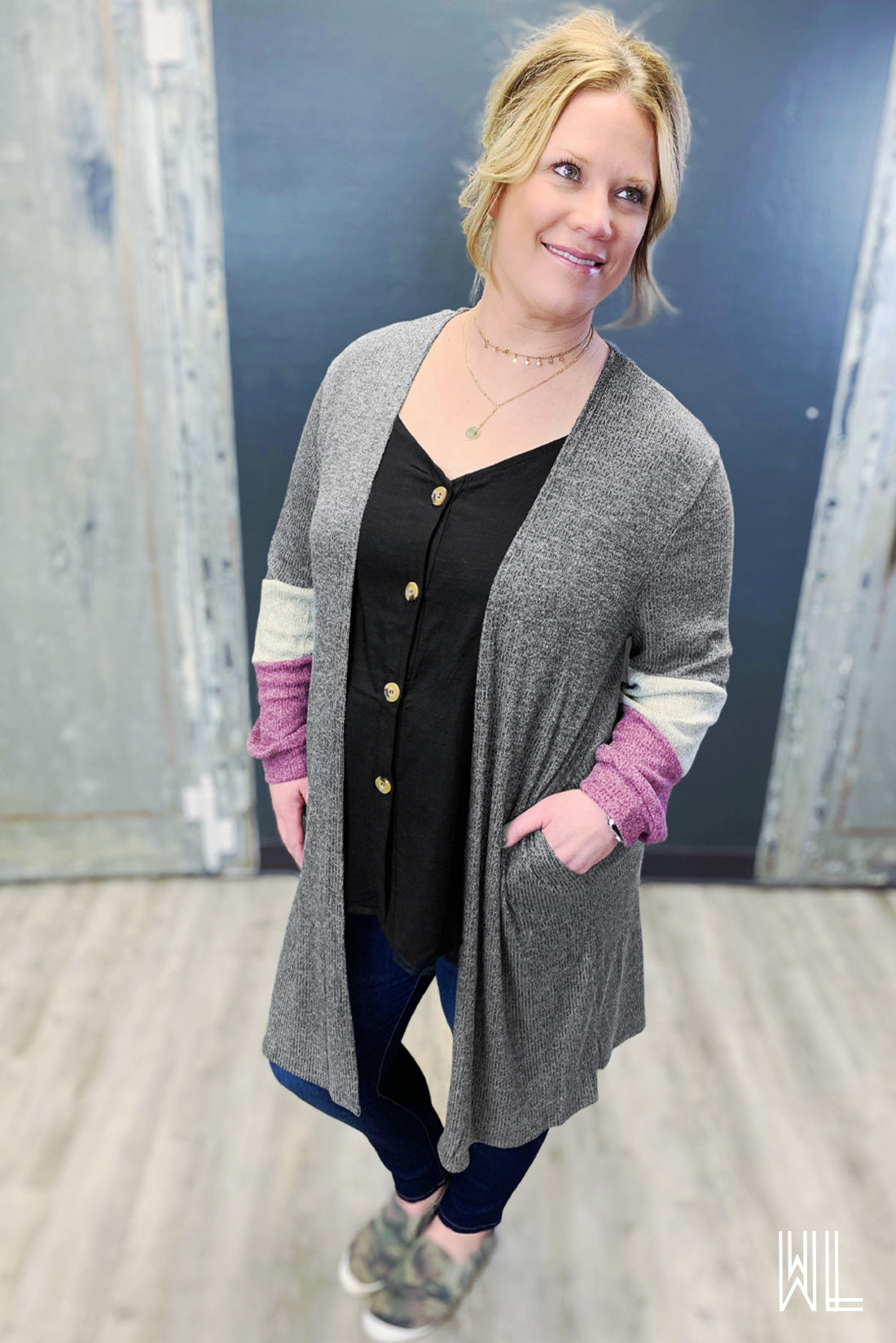Charcoal Color Block Sleeve Cardigan