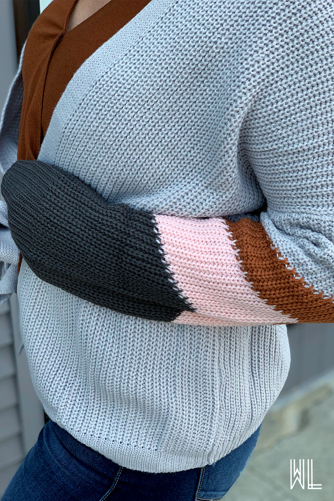 Rust + Pink + Charcoal Sleeve Belted Cardigan