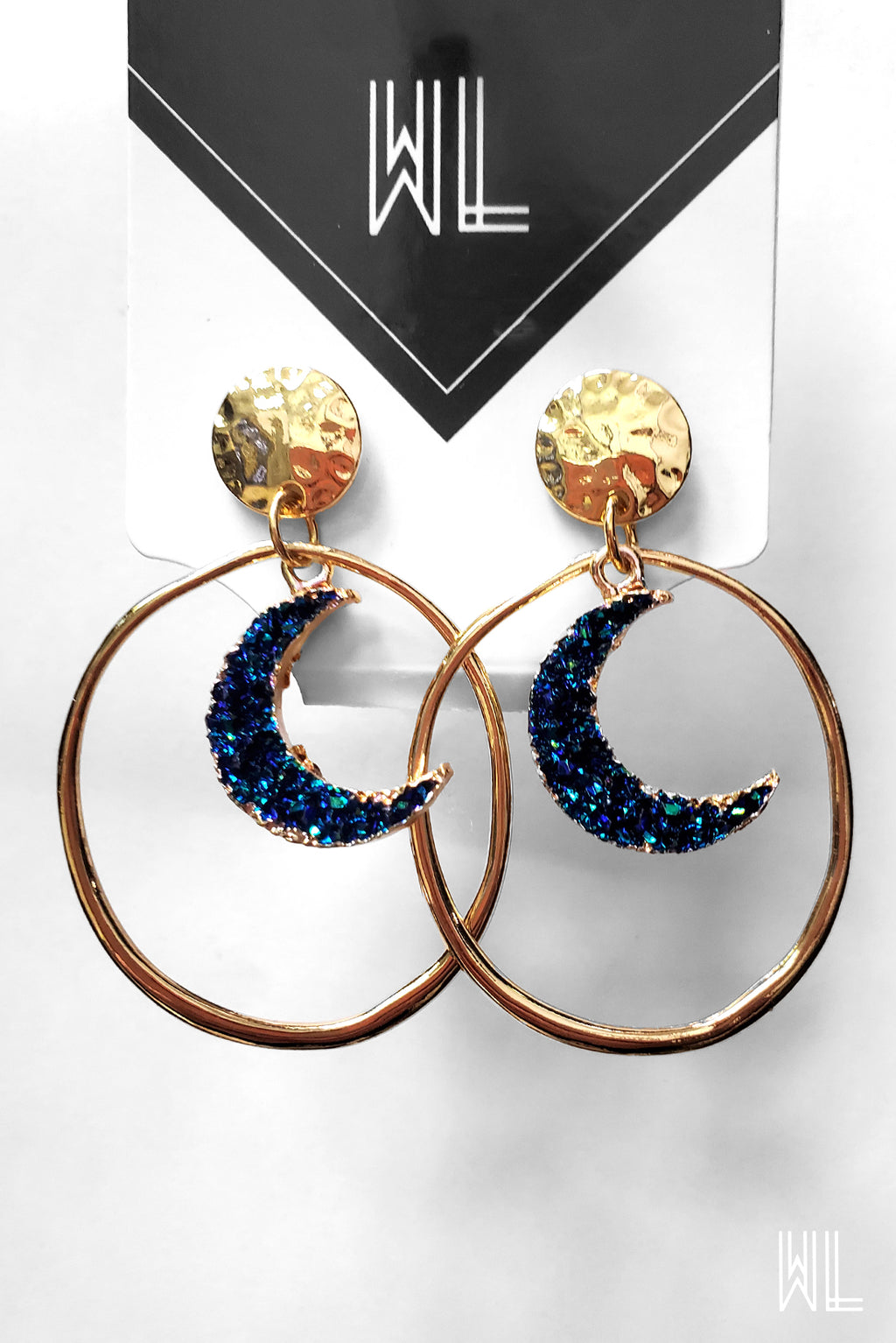Blue Crescent Hoop Earrings