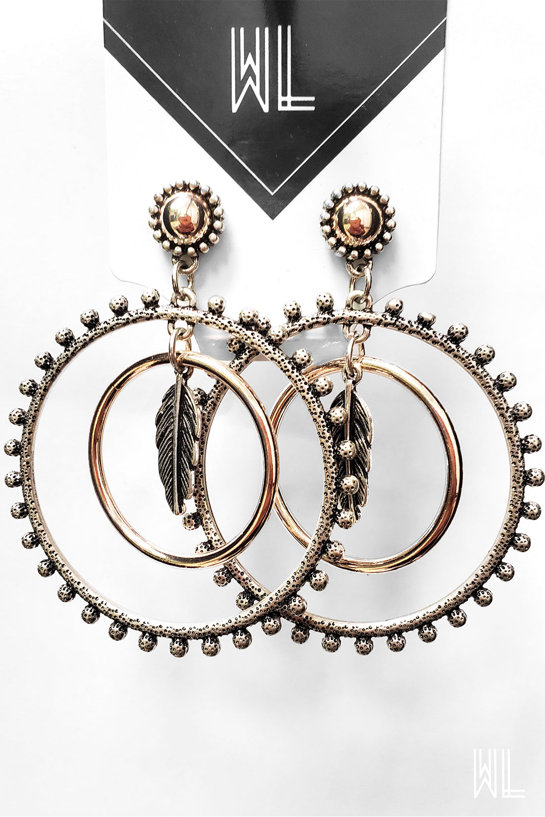 Gold + Silver Feather Pendant Hoop Earrings