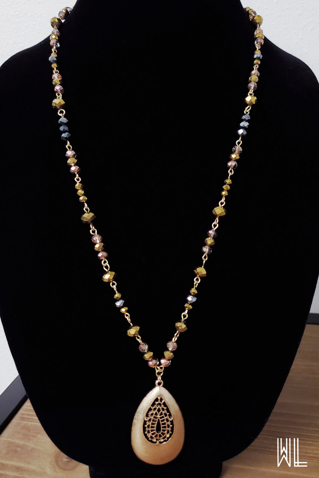 Gold Teardrop Pendant + Beads Necklace