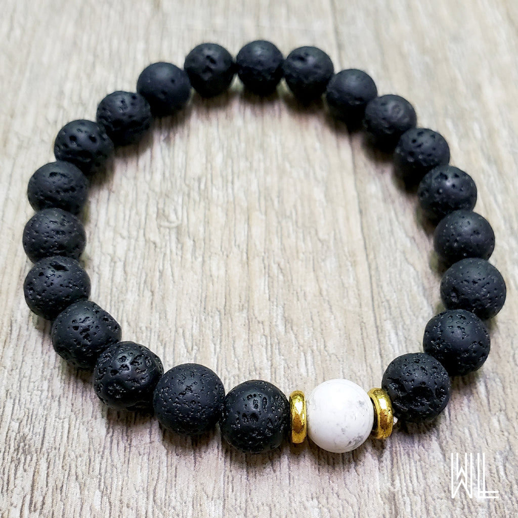 Lava Stone + Colored Bead Diffuser Bracelet