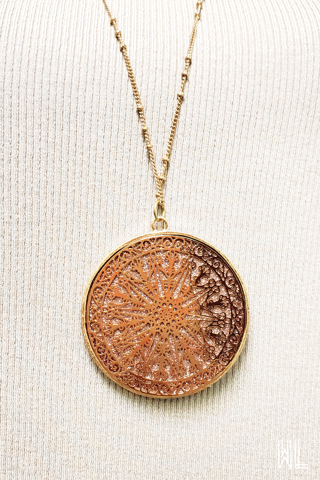 Long Disc Pendant Necklace
