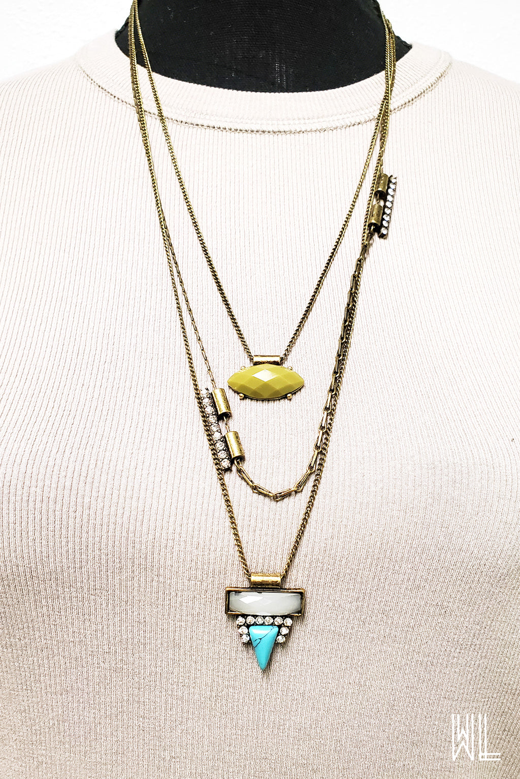 Olive + Turquoise Three Layer Necklace