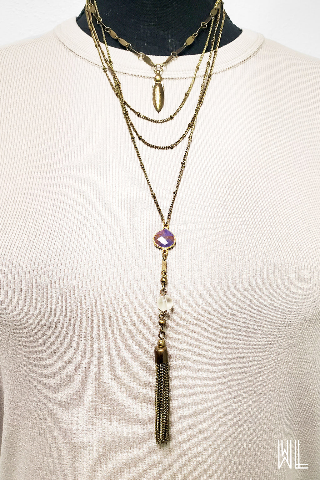 Purple Stone Pendant + Chain Tassels Necklace