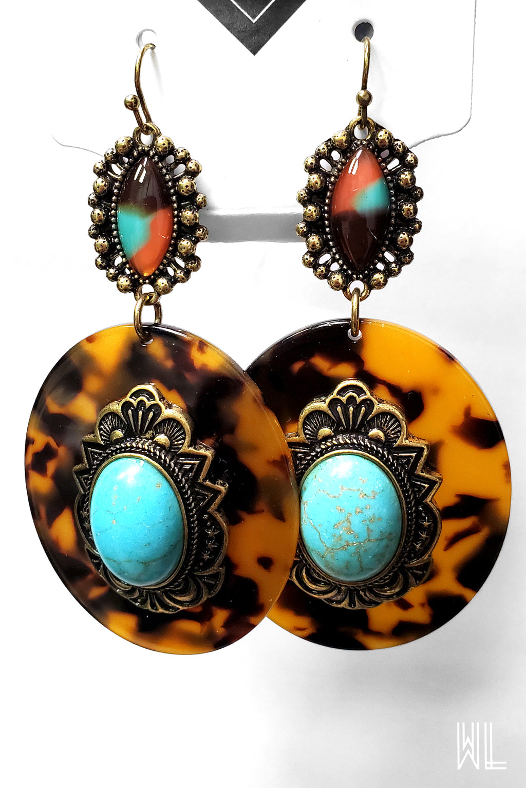Tortoise + Turquoise Earrings