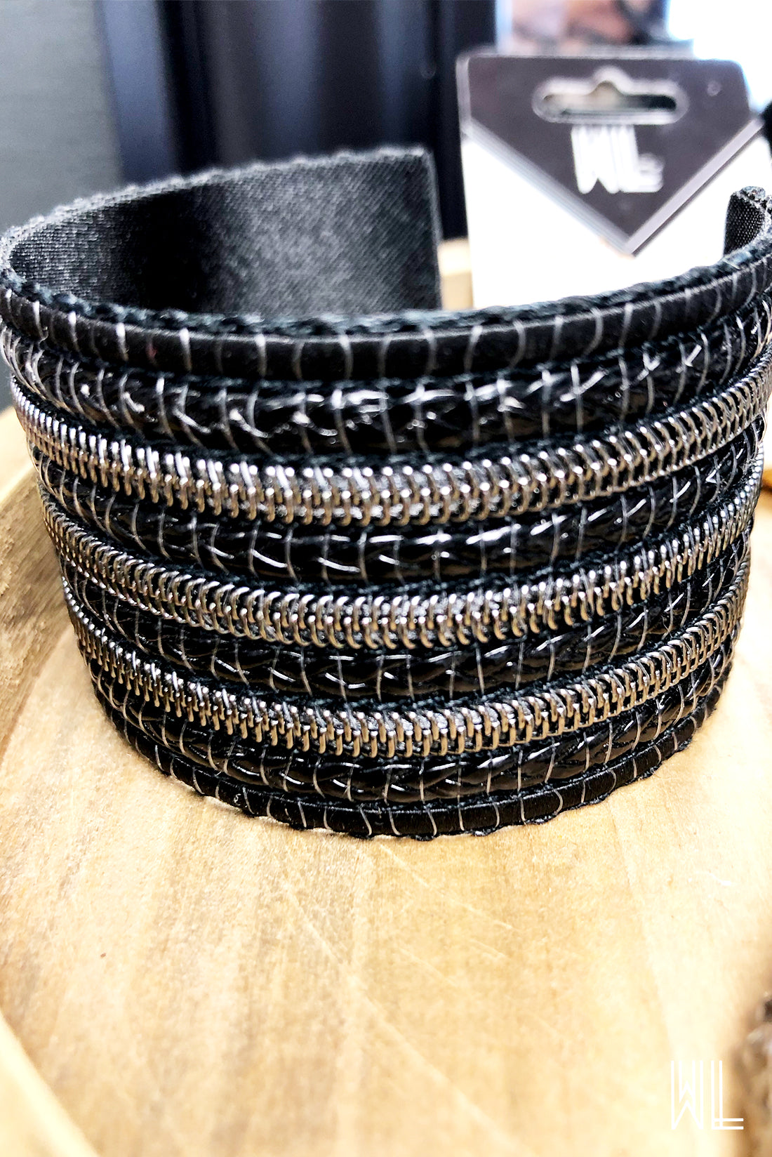 Wide Black Braid + Silver Zipper Cuff Bracelet