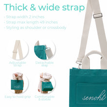 Load image into Gallery viewer, Casual Canvas Tote Bag - Vegan Fashion Brand, Handbag Purse Shoulder Crossbody wiht Long Strap, Base Shaper for Women, Girls(Mint)