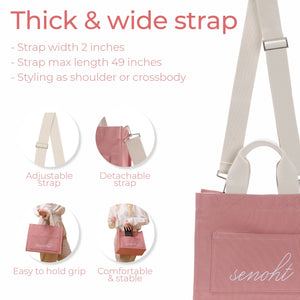 Casual Canvas Tote Bag - Vegan Fashion Brand, Handbag Purse Shoulder Crossbody wiht Long Strap, Base Shaper for Women, Girls(Pink)