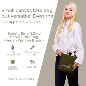 Small&Cute Canvas Tote Bag - Vegan Fashion Brand, Handbag Purse Shoulder Crossbody wiht Long Strap, Base Shaper for Women, Girls(Khaki)
