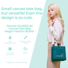 Load image into Gallery viewer, Small&Cute Canvas Tote Bag - Vegan Fashion Brand, Handbag Purse Shoulder Crossbody wiht Long Strap, Base Shaper for Women, Girls(Mint)