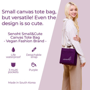 Small&Cute Canvas Tote Bag - Vegan Fashion Brand, Handbag Purse Shoulder Crossbody wiht Long Strap, Base Shaper for Women, Girls(Purple)