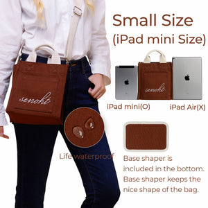 Small&Cute Canvas Tote Bag - Vegan Fashion Brand, Handbag Purse Shoulder Crossbody wiht Long Strap, Base Shaper for Women, Girls(Brown)