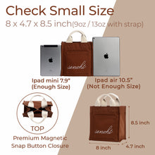 Load image into Gallery viewer, Small&Cute Canvas Tote Bag - Vegan Fashion Brand, Handbag Purse Shoulder Crossbody wiht Long Strap, Base Shaper for Women, Girls(Brown)
