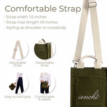 Load image into Gallery viewer, Small&Cute Canvas Tote Bag - Vegan Fashion Brand, Handbag Purse Shoulder Crossbody wiht Long Strap, Base Shaper for Women, Girls(Khaki)
