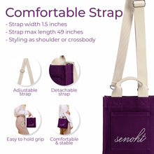 Load image into Gallery viewer, Small&Cute Canvas Tote Bag - Vegan Fashion Brand, Handbag Purse Shoulder Crossbody wiht Long Strap, Base Shaper for Women, Girls(Purple)