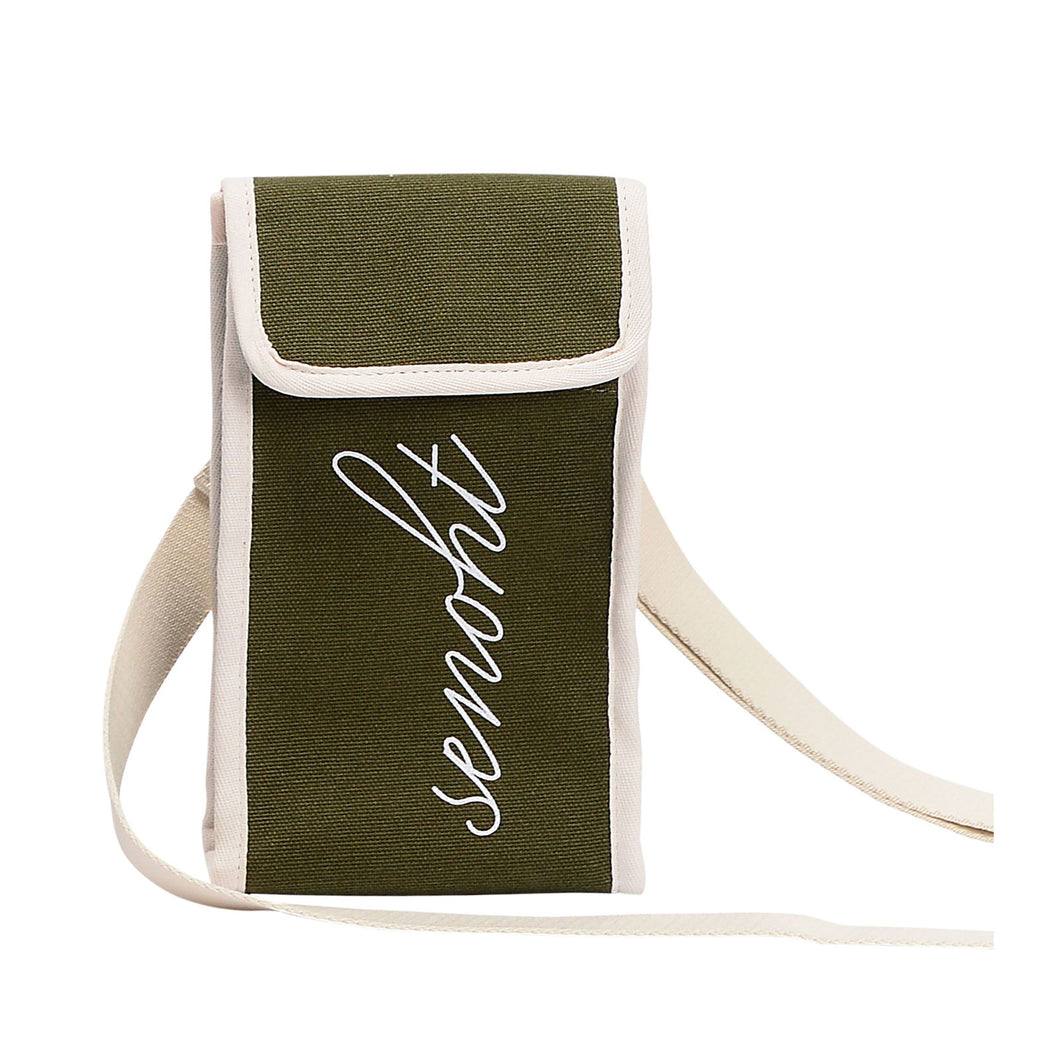 Mini Canvas Bag - Vegan Fashion Brand, Cell Phone Small Purse Wallet handbag Shoulder Crossbody with Long Strap for Women, Girls(Khaki)