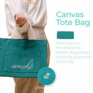 Casual Canvas Tote Bag - Vegan Fashion Brand, Handbag Purse Shoulder Crossbody wiht Long Strap, Base Shaper for Women, Girls(Mint)