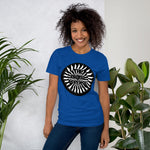 t shirt vegan TAD arrow bleu