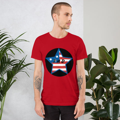 t shirt vegan TAD US Stars rouge