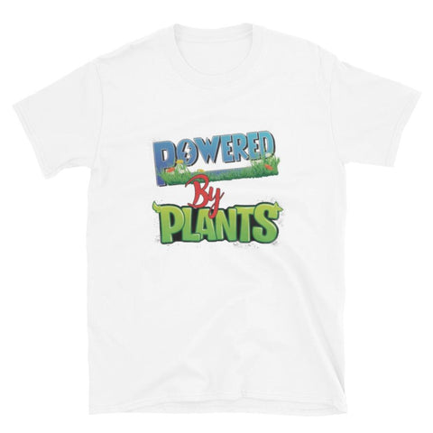 powered by plants blanc - tshirt vegan unisexe