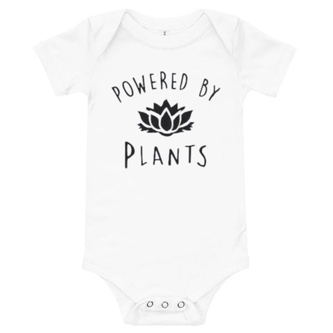 tshirt vegan bébé powered blanc