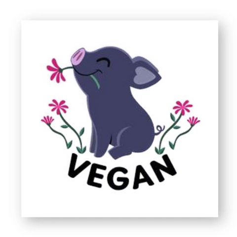 stickers vegan kawaii pig carré