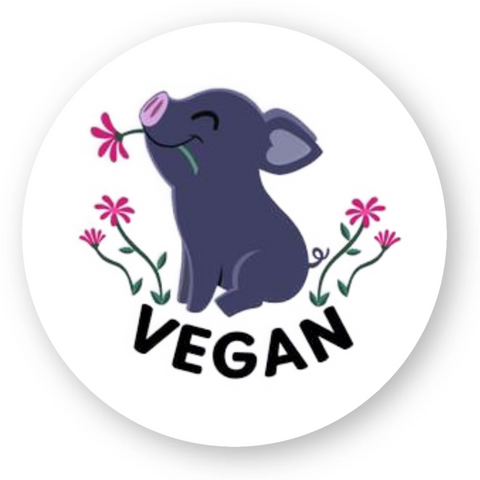 stickers vegan kawaii pig rond