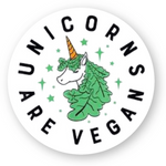 stickers vegan unicorns rond