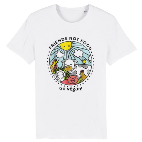 tee shirt vegan animals are friends homme