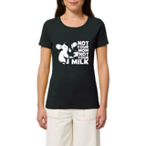 T shirt vegan femme vache not your milk noir avec mannequin