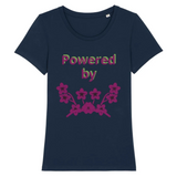 powered by plants reel - tshirt vegan eco femme bleu foncé