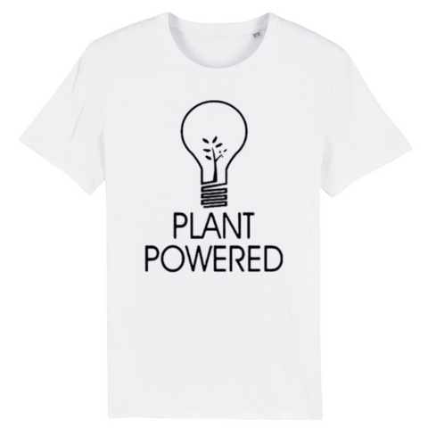 tshirt végétarien powered by plant blanc