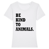 tshirt be kind with animal blanc- tshirt vegan amoureux des animaux