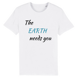 the earth needs you tshirt vegan blanc