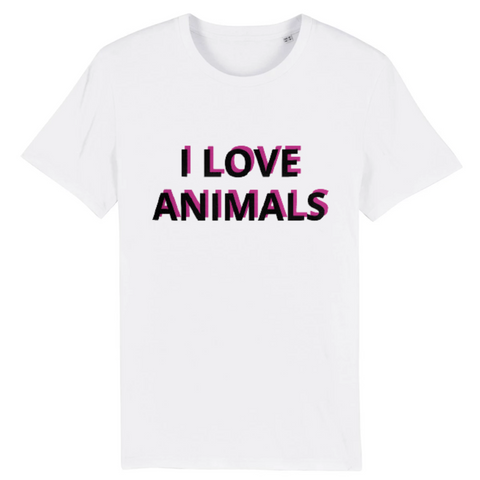 tshirt vegan eco homme i love animals blanc