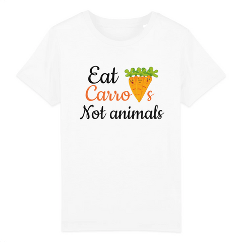tshirt vegan enfant eat carrots blanc